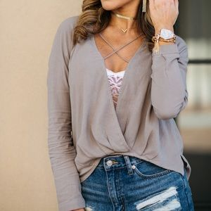 Grey/taupe color criss cross front wrap top small